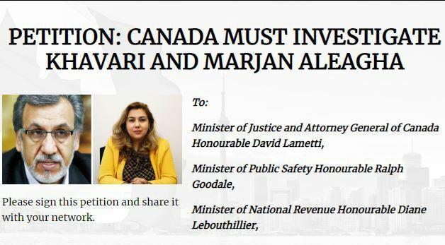 ایرانیان کانادا علیه «خاوری» و «شیخالاسلامیآلآقا»