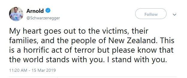 واکنش آرنولد به حمله تروریستی نیوزیلند
