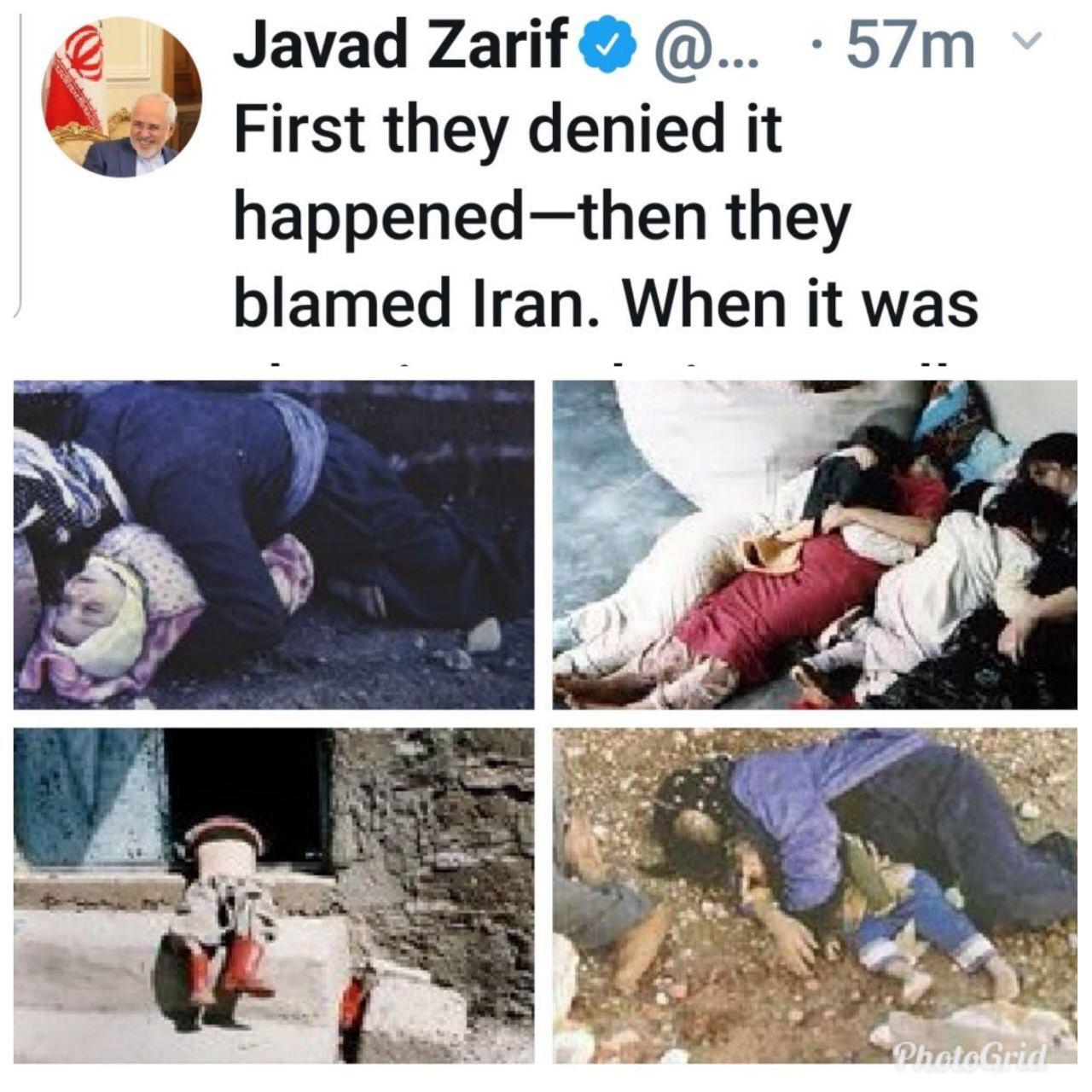 توئیت ظریف در سالگرد بمباران شیمیایی حلبچه