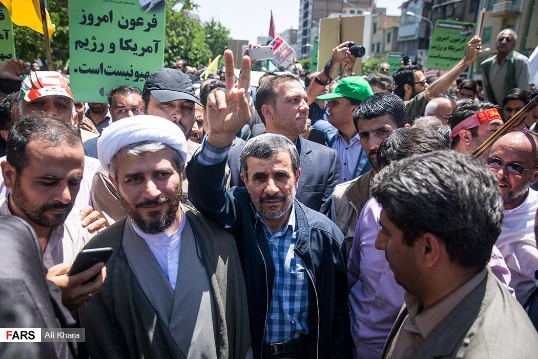 شعار برای احمدینژاد در راهپیمایی روز قدس