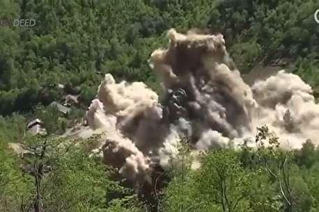 (ویدئو) لحظه انهدام پایگاه آزمایش هستهای کره شمالی
