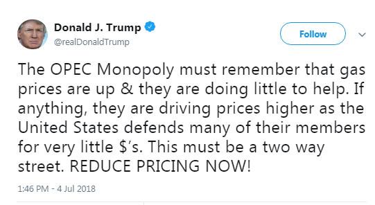 ترامپ به اوپک: قیمت نفت را کاهش دهید