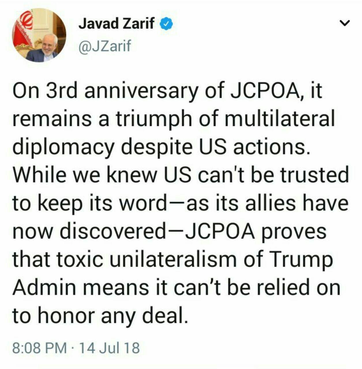 توئیت ظریف برای سومین سالگرد برجام