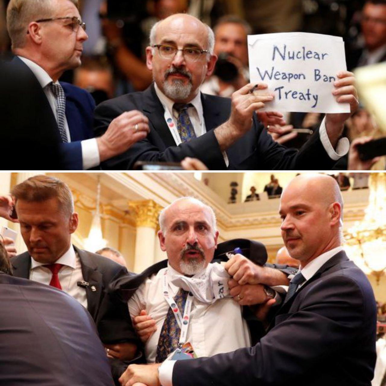 اخراج یک خبرنگار از کنفرانس مطبوعاتی ترامپ و پوتین