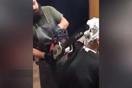 (ویدئو) اصلاح موی سر با اره برقی!