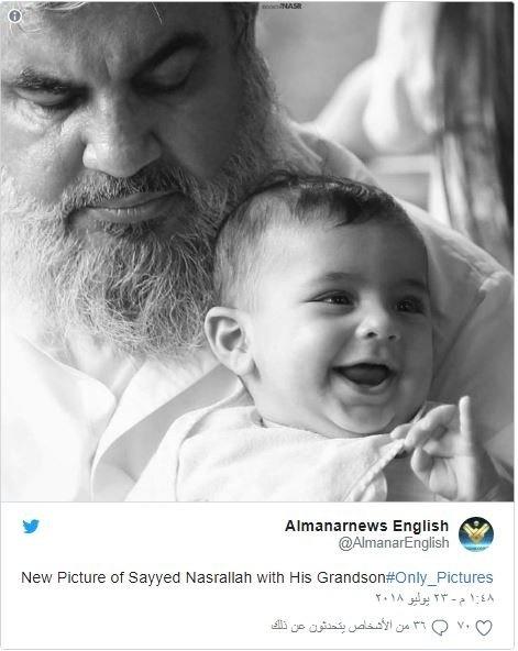 تصویر رهبر حزبالله با نوهاش که صهیونیستها را عصبانی کرد!