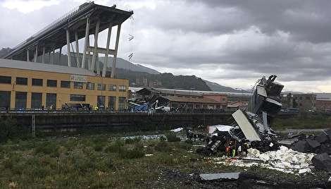 لحظه وحشتناک فروریختن پل هوایی در ایتالیا
