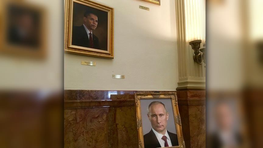 تصویر پوتین به جای عکس ترامپ در ساختمان دولتی آمریکا