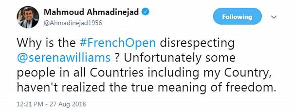 انتقاد احمدینژاد به ممنوعیت پوشش تنیس باز زن آمریکایی!