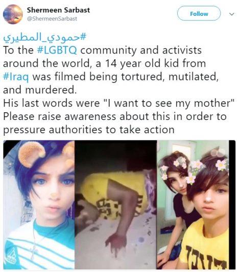 انتشار ویدئو تکاندهنده از قتل نوجوان عراقی به خاطر چهره زنانه