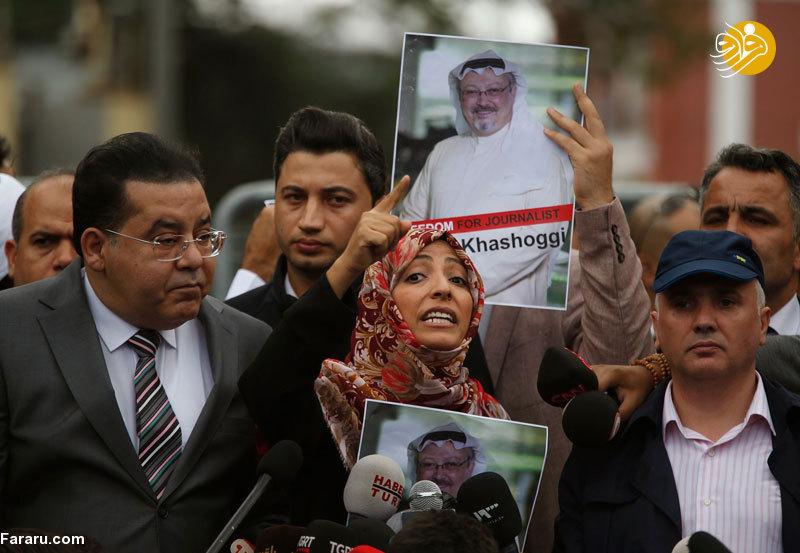 (تصویر) اعتراض برنده جایزه صلح نوبل در مقابل کنسولگری عربستان