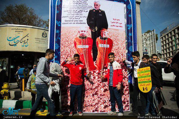 یک عکس مسئله دار از سردار سلیمانی در راهپیمایی