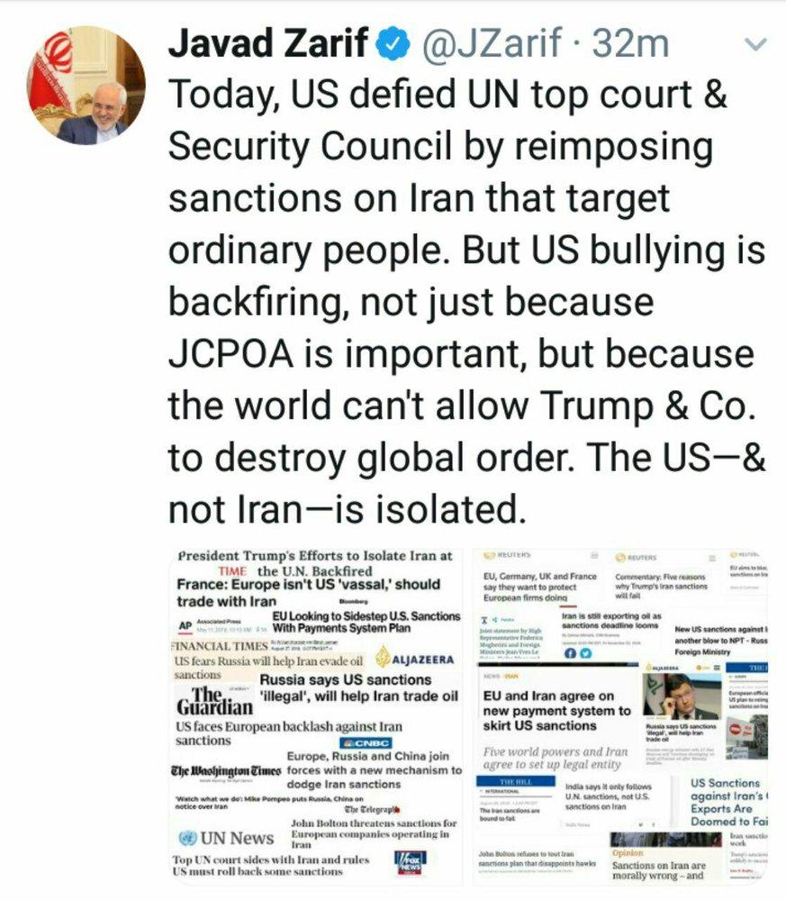 واکنش ظریف به بازگشت تحریمهای آمریکا علیه ایران