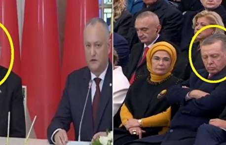 (ویدیو) خواب رفتن اردوغان در پاریس سوژه شد