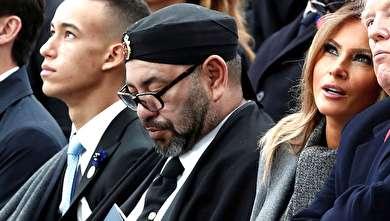 (تصاویر) خوابیدن پادشاه مراکش کنار ملانیا ترامپ