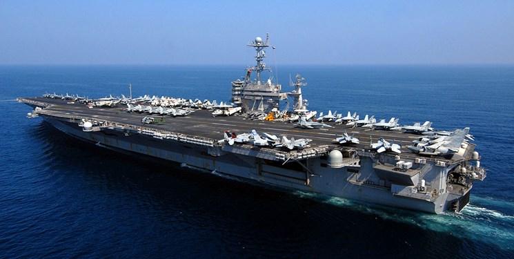 استقرار یک ناو هواپیمابر آمریکایی در خلیج فارس پس از ۸ ماه