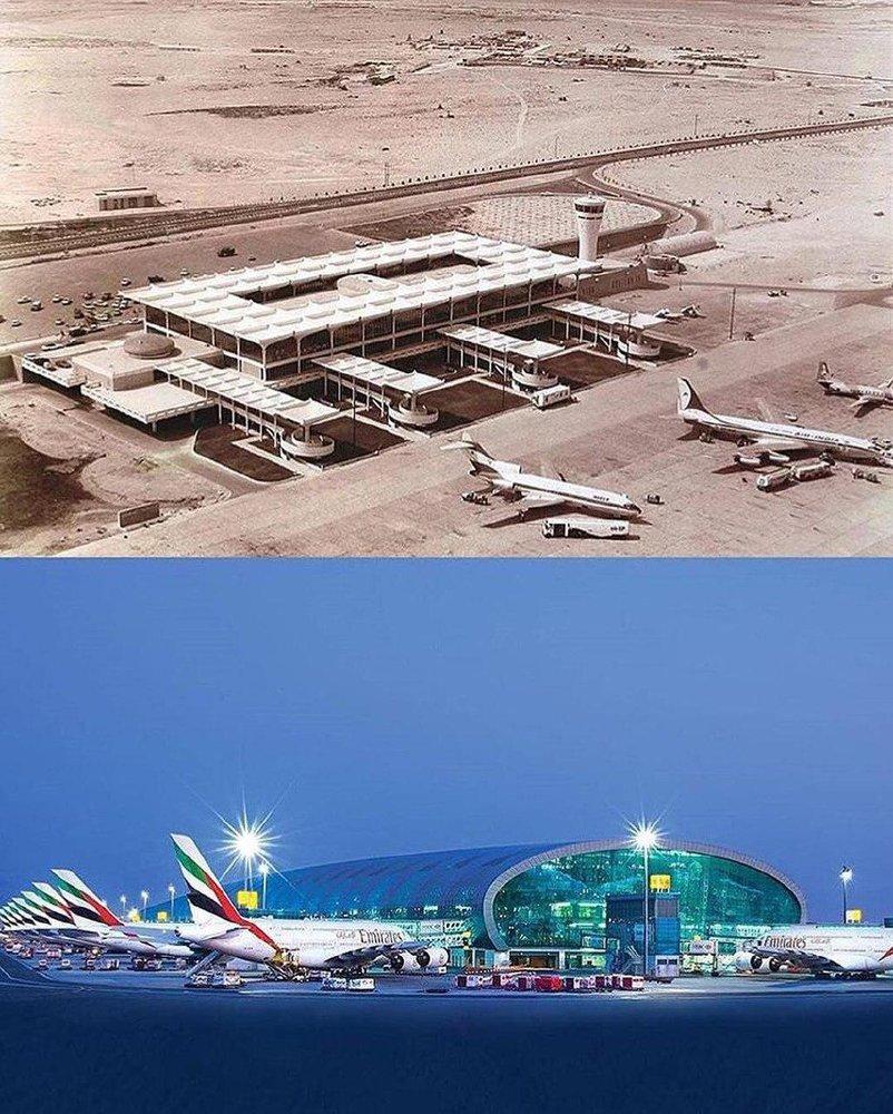 (عکس) فرودگاه دبی، الان و ۵۹ سال پیش!