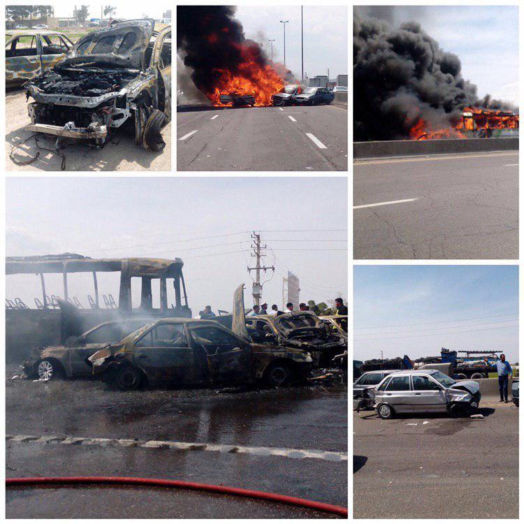 ۷ کشته و ۱۴ مصدوم در تصادف اتوبان تهران – ساوه