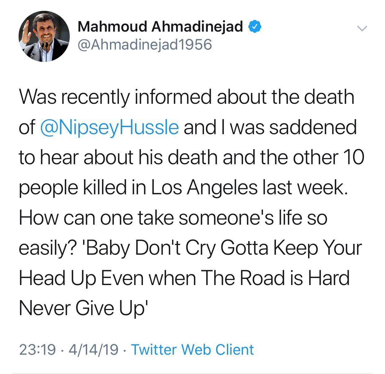 (عکس) اندوه عجیب احمدی نژاد بخاطر مرگ رپر آمریکایی