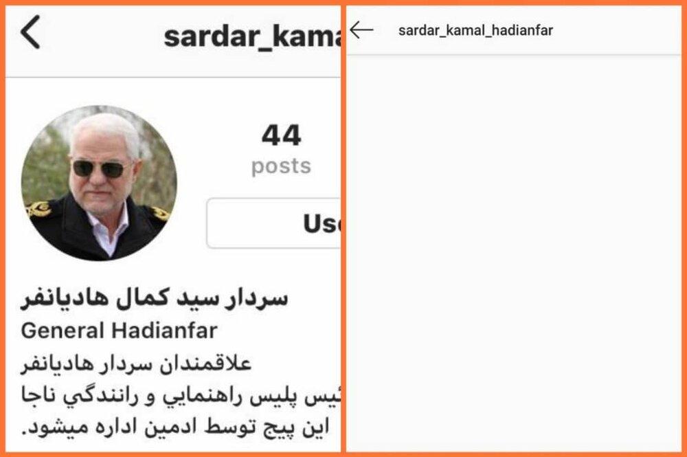 صفحه اینستاگرام رئیس پلیس راهور ناجا مسدود شد