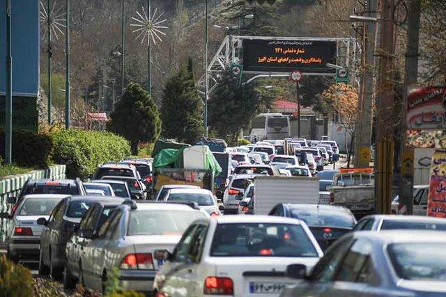 ترافیک سنگین در جاده کرج - چالوس