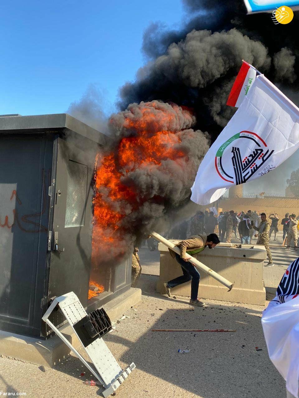 (تصاویر) ناآرامی در مقابل سفارت آمریکا در بغداد