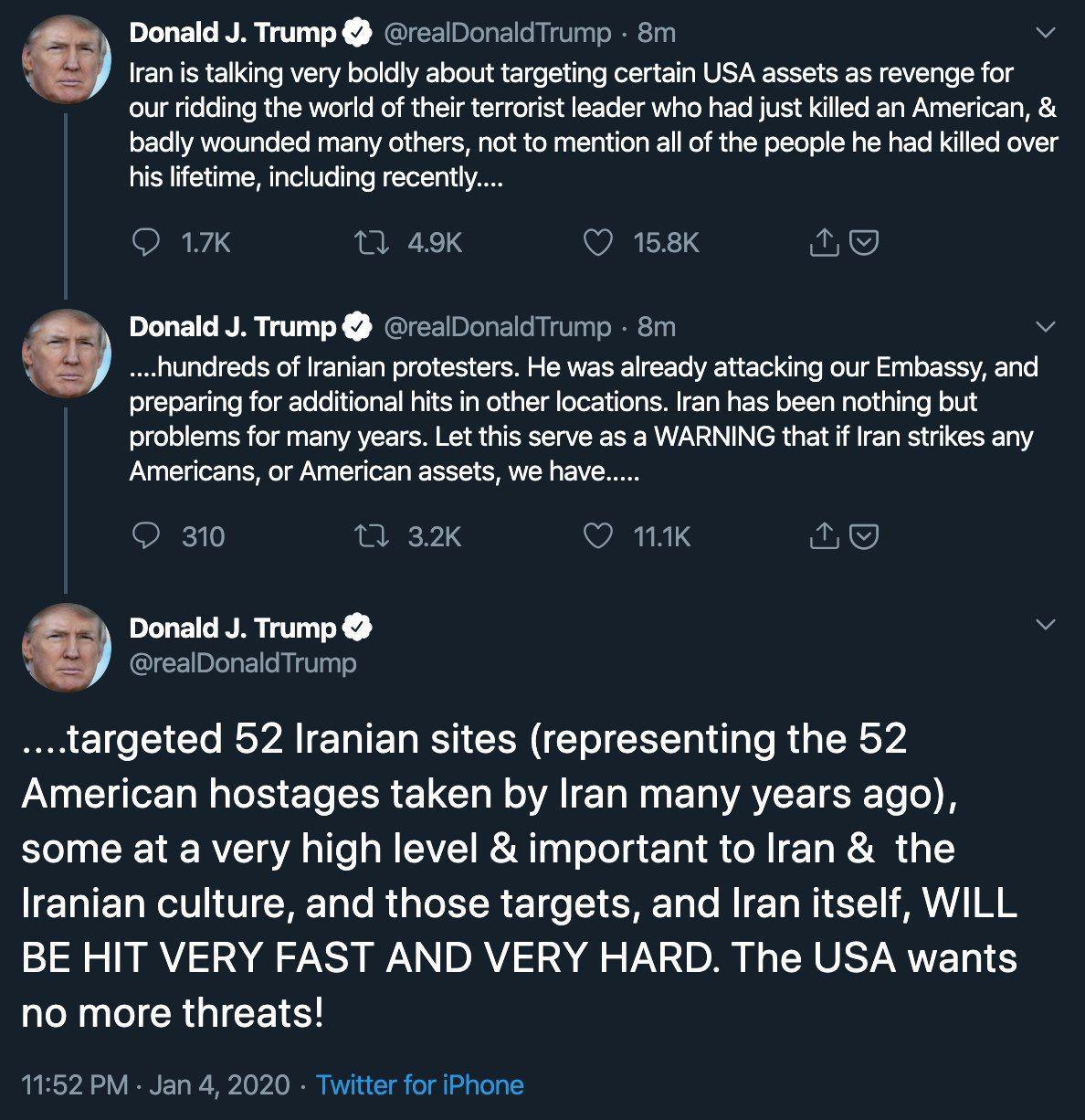 تهدیدات جدید ترامپ علیه ایران/ ۵۲ سایت ایرانی هدف قرار میگیرند