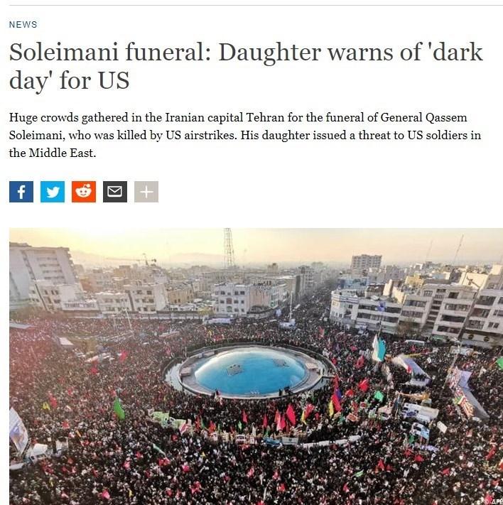 بازتاب تشییع مراسم سردار سلیمانی در رسانههای خارجی