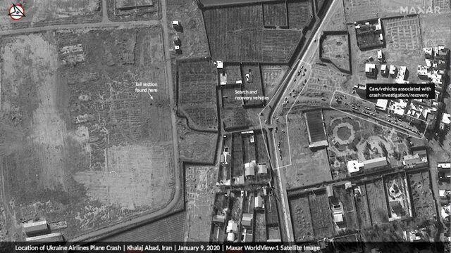 (عکس) ماهوارههای آمریکایی محل سقوط هواپیمای اوکراینی را رصد کردند