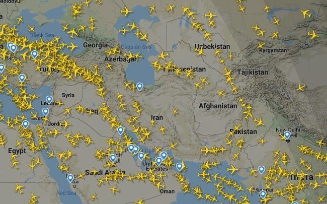 (عکس) کاهش شدید ترافیک پروازهای خارجی در آسمان ایران