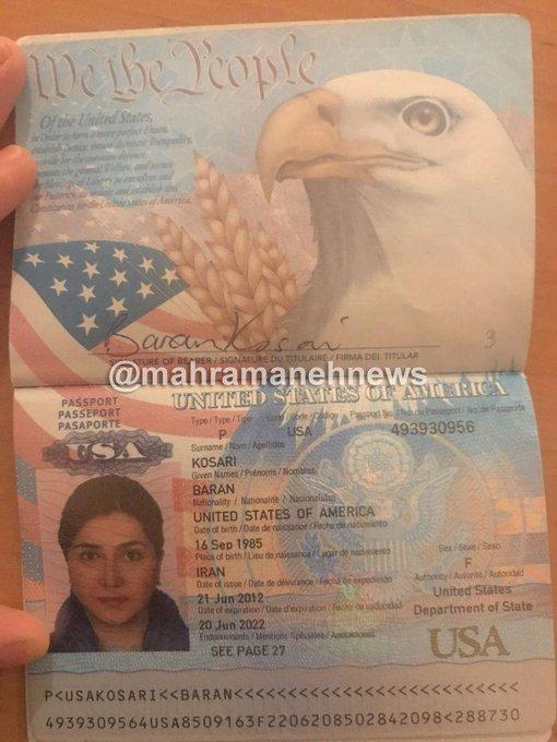 پاسپورت آمریکایی باران کوثری جعلی یا واقعی؟