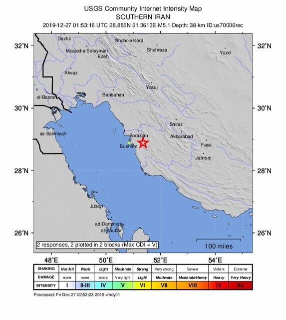 زلزله ۴.۹ ریشتری استان بوشهر را لرزاند