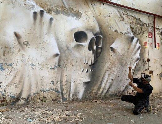 (تصویر) نقاشی خارقالعاده هنرمند فرانسوی روی دیوار