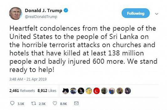 اشتباه عجیب ترامپ؛ ۱۳۸ میلیون کشته در سریلانکا!