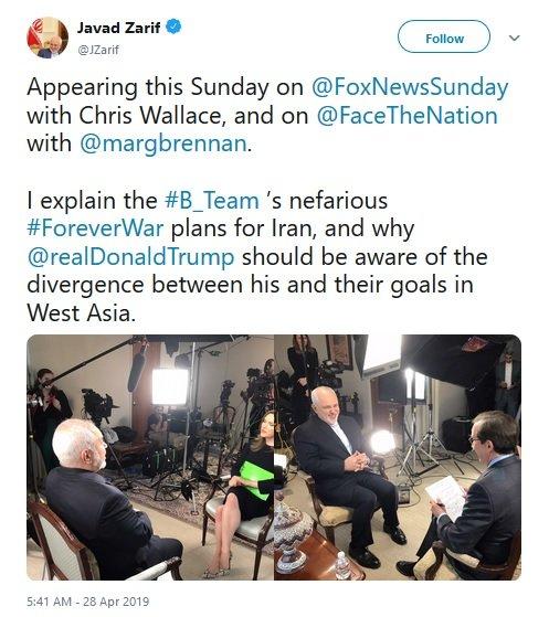 توئیت ظریف درباره دو مصاحبه مهمش در آمریکا
