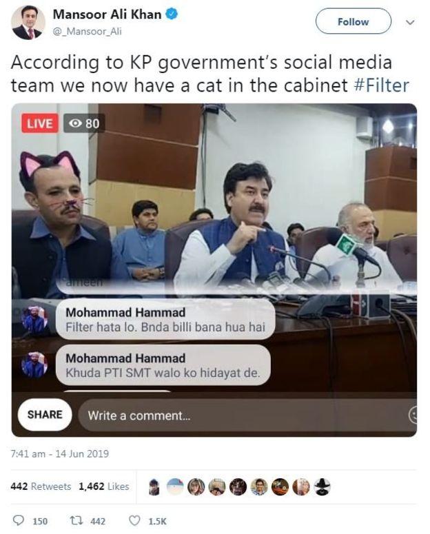 (تصاویر) پخش زنده کنفرانس خبری یک وزیر پاکستان با فیلتر گربه!