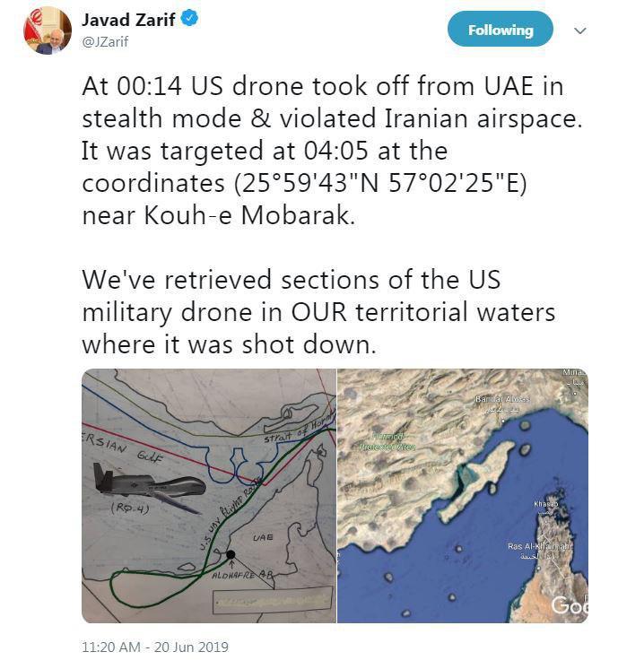 سپاه یک فروند پهپاد جاسوسی آمریکایی را سرنگون کرد/ تایید سرنگونی پهپاد از سوی آمریکا