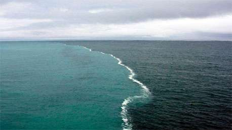 (ویدئو) تصویری زیبا از مرز ایجاد شده بین رودخانه و اقیانوس