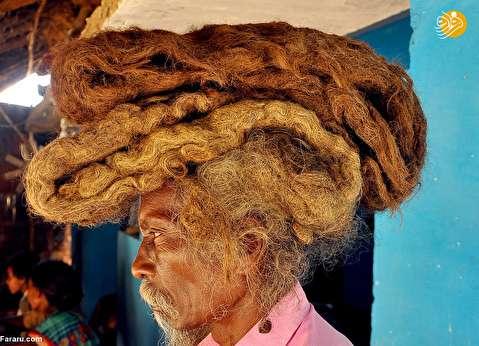 (تصاویر) مردی که از ۴۰ سال پیش موهایش را نشسته!
