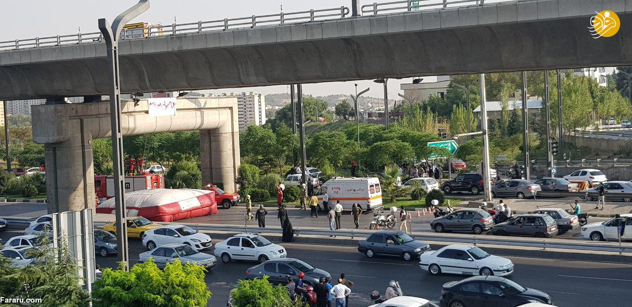 (تصاویر) خودکشی نافرجام جوانی در پل صدر