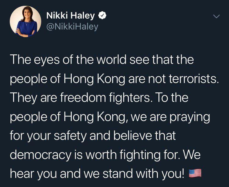 واکنش توئیتری نیکی هیلی به اعتراضات در هنگکنگ