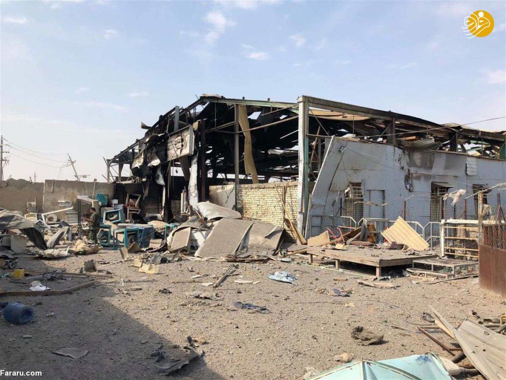 (تصاویر) خسارتهای انفجار شدید پادگان حشدالشعبی در بغداد
