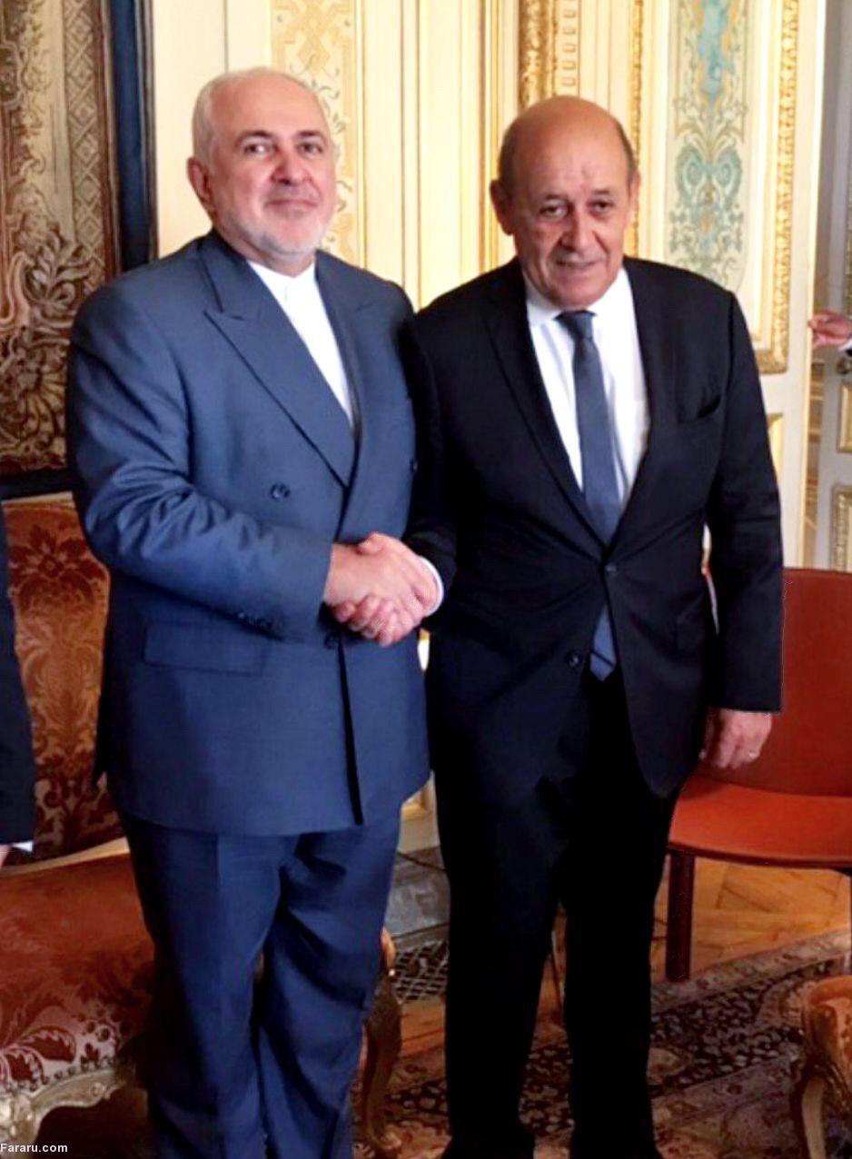 ظریف با وزیر خارجه فرانسه دیدار کرد