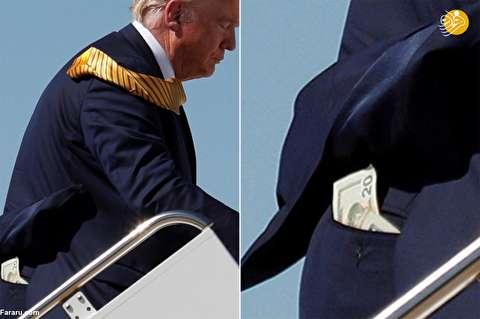 (تصویر) اسکناس بیست دلاری در جیب پشت ترامپ!