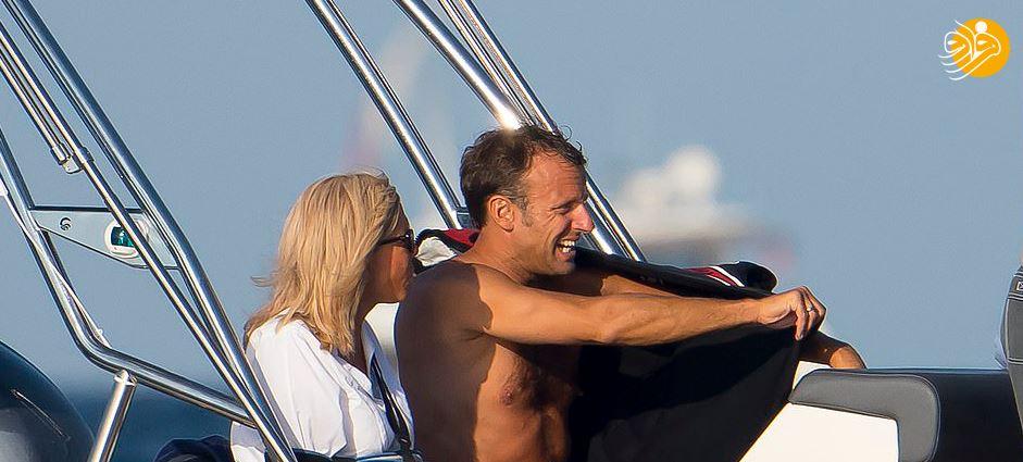 (تصاویر) ظاهر متفاوت مکرون و همسرش هنگام خوشگذرانی