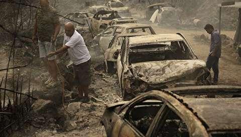 (تصاویر) آتش سوزی کمسابقه در مناطق مختلف لبنان