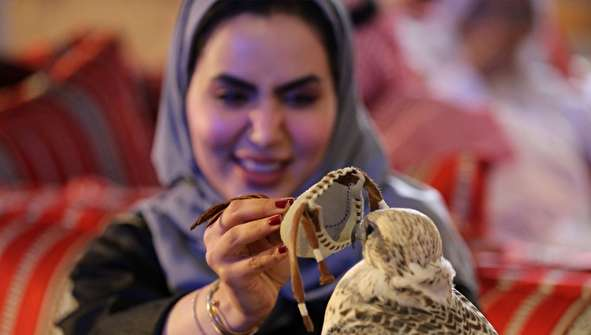 (تصاویر) علاقه زنان عربستانی به شاهین شکاری