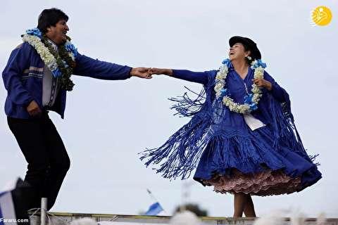 (تصاویر) رقصیدن اوو مورالس در مبارزات انتخاباتی!