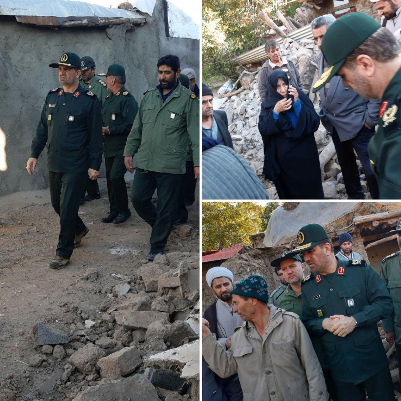 حضور فرمانده سپاه آذربایجان شرقی در مناطق زلزلهزده