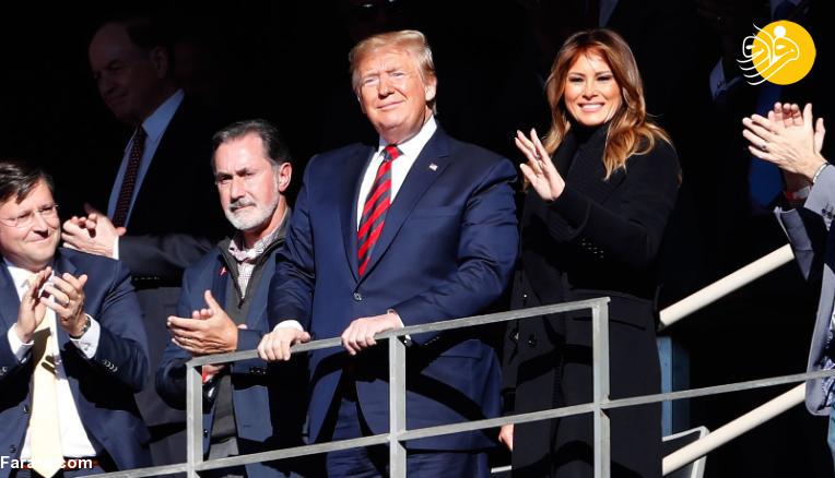 (تصاویر) ترامپ و همسرش فوتبال تماشا کردند